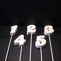 Wedding Table Numbers 1-20 Unfinished Wood Style 16 on a Stick  Stk No TN-16-.75-3-20-D