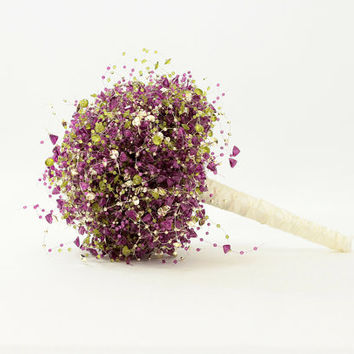 Limited Edition - Beaded Bridal Bouquet - Purple, Gold, and Green - Wedding Bouquets - Fabulous Brooch Bouquet Alternative