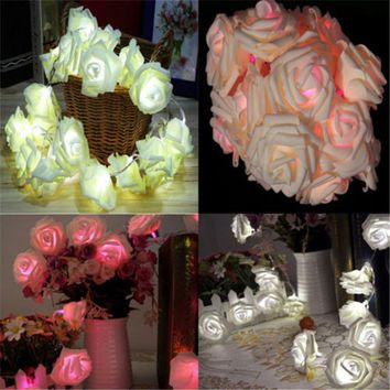 20 Rose Flower String Lights Fairy Party Wedding Garden Christmas Decoration