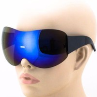 Womens Exaggerated Vintage SHIELD VISOR Style SUN GLASSES Blue Mirrored Lens NEW