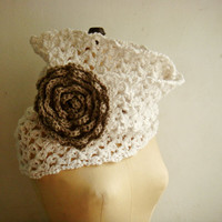 White Chunky Loop Scarf Crochet Cowl with Large Flower Pin