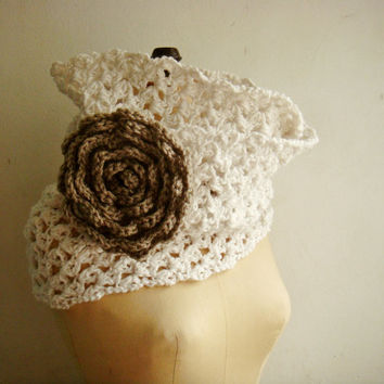 Chunky Cowl Loop Scarf with Flower Crochet PDF PATTERN 236