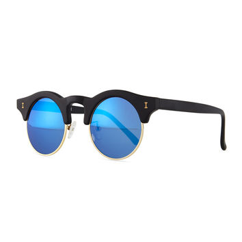 Corsica Mirrored Round Sunglasses, Black - Illesteva