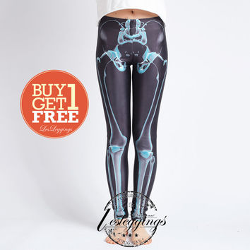 Skeleton Leggings-X ray Skeletons Leggings-Skeleton tights-Pants Legwear-Skeleton Tights-Blue-Yoga Leggings-DDK0047