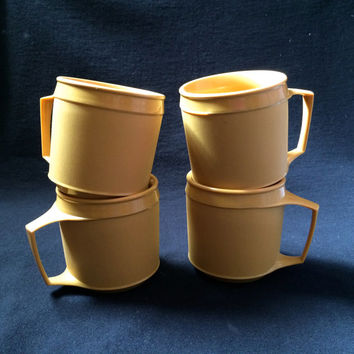 SALE- Set of 4 Aladdin Thermal Mugs, Bright Gold Mustard