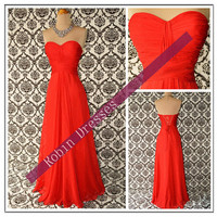 New Cheap Strapless Sweetheart Long Red Chiffon Prom Dresses Bridesmaid Dresses