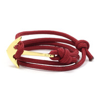 Gold Anchor on Maroon Rope