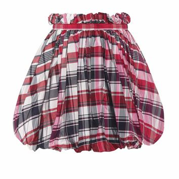 Checked silk and cotton miniskirt