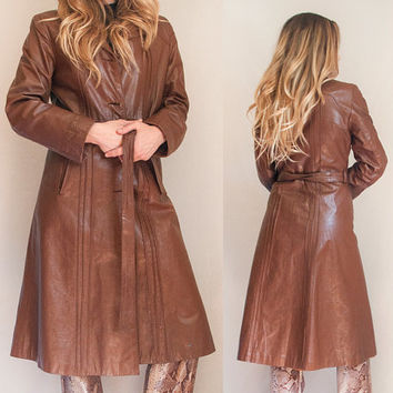 60s Brown Leather Trench Coat XS | Womens S Small M Medium Fur Trim Collar Brown Genuine Suede Leather Boho Penny Lane Blazer Coat 1970s