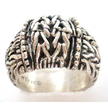 Wide Mexican Braid Ring Sterling Silver