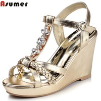 Asumer 2017 summer new arrive women sandals fashion buckle T-strap rhinestone wedges sandals elegant lady prom shoes