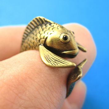 Koi Fish Sea Animal Wrap Around Ring in Brass - Sizes 4 to 9 Available