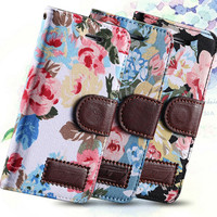 5S PU Leather Case Flower Floral Flip Cover For Iphone 5S Countryside Cloth Full Body Wallet Cover Leather Cases For iPhone 5C