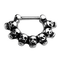 PiercingJ 1pc Vintage Gothic 16G Stainless Steel Skull Piercing Nose Ring Septum Hanger Silver Black Copper Color