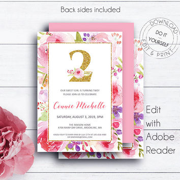 2nd Birthday Gold Glitter Invite, Birthday Invitations, Kids Party Invite, Printable Editable Invitation Template, Floral, Whimsical