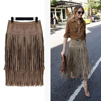 DCK9M2 Fashion 2015 New Heavy Hierarchical High Waist Straight Leather Skirt Fringed Suede Tassel Saias Skirts Womens S~2XL