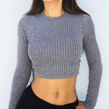 ESBON Cross Straps Ribbed Knitted Sweater in Gray or Black