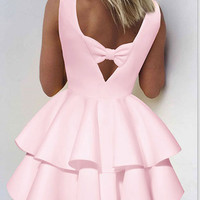 Solid color U-neck Sleeveless Double Frill Skater Dress