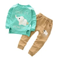 Baby Children Clothing Set New Autumn Winter Warm Boys Girls Cartoon Elephant Cotton Clothes Sets Sweaters+Pants Sets Suit 2-4Y