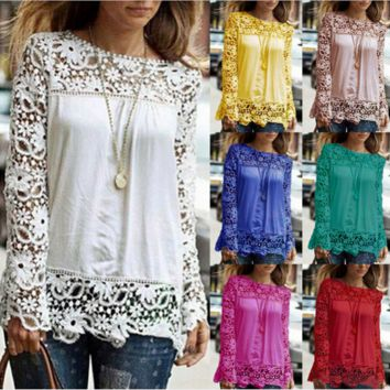 Casual cutout Lace Long-Sleeve Shirt L02J160905-A