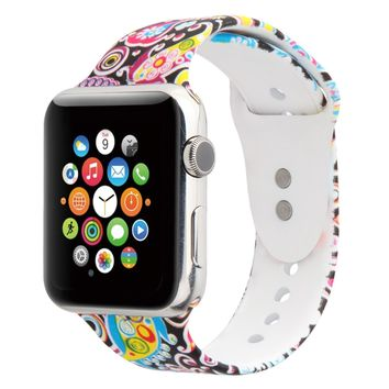 Floraler Sport Band for Apple Watch 42mm, Soft Silicone Strap Replacement Wristbands for Apple Watch Sport Series 3 Series 2 Series 1(42MM/38MM
