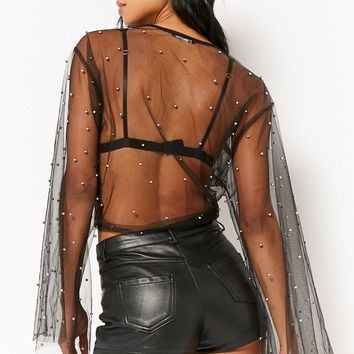 Kikiriki Sheer Beaded Mesh Top