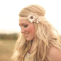 Fabric Flower Headband... Womens Headbands... Couture Headband