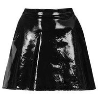 PETITE Exclusive PU A-line Skirt - Black