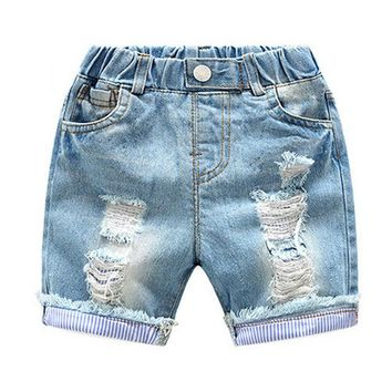Hot Shorts Korean Summer Casual Baby Boy Denim Short Pant Fashion Vintage Hole Children  Jeans Elastic Waist Kid Cowboy TrouserAT_43_3