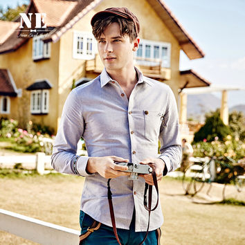 Long Sleeve Cotton England Style Slim Shirt [7951251971]