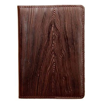 Leather handmade cover for a passport, Handmade cover for documents, Personalized gift, Cover with wood pattern