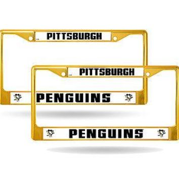 Pittsburgh Penguins Gold Painted Chrome Metal (2) License Plate Frame Set