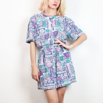 Vintage 80s Romper Teal Blue Purple Abstract Tribal Print Jumper 1980s Playsuit Shorts One Piece Shortalls Overalls Outfit S Small M Medium