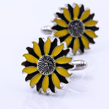 KFLK jewelry in 2017 new product for men's shirts cufflinks plants flower button high quality brand luxury wedding free shipping