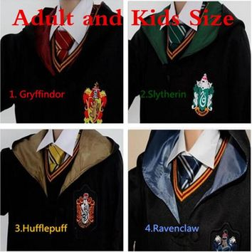 Adult/ Kids Harri Potter Cosplay Costumes Harry 's Robes / Tie Gryffindor 's Ravenclaw 's Mantle Slytherin 's Hufflepuff  Cloaks