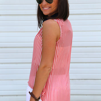 Red + White Pinstripe Hi-Low