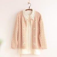 sweet 3D handmade flowers embroidery cardigan mori girl sweater