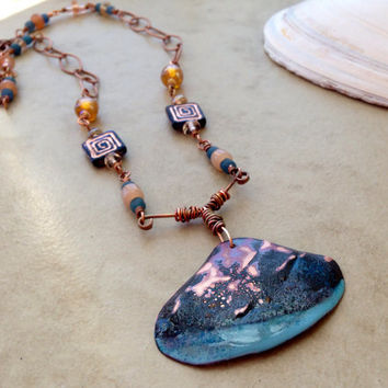 Copper shell torch fired enamel necklace, rustic handcrafted blue flamed patina and enameled copper pendant, Czech glass, gift for her