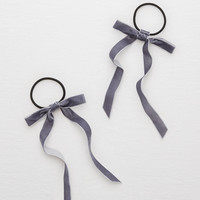 Aerie Velvet Ribbon Hair Ties , Dark Heather