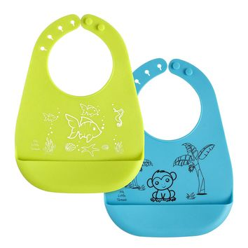 Silicone Baby Bibs with Crumb Catcher Food Pocket - Waterproof and Stain Resistant - Fun Cute Unisex Designs are Easy to Carry and...