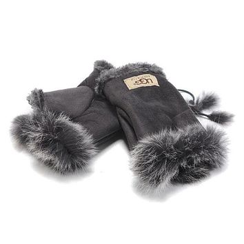 DCCKI2G UGG Gloves Winter Women Mittens Velvet Fur Gloves