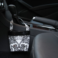 Car Cellphone Caddy ~ Black Toile Oilcloth ~ Black Band