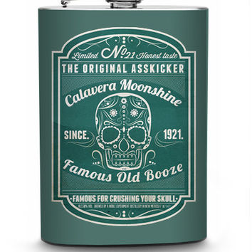 Calavera Moonshine Vintage Liquor Label Stainless Steel 8oz Hip Flask Sugar Skull Day of the Dead Booze