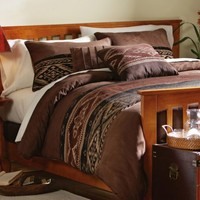 Southwest Microfiber Comforter Set Brown Queen by Collections Etc