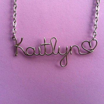 Personalized Wire Name Necklace with Heart