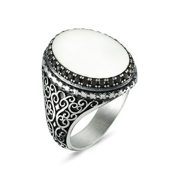 Engravable customizable blank plate with zirconia stones 925k sterling silver mens ring