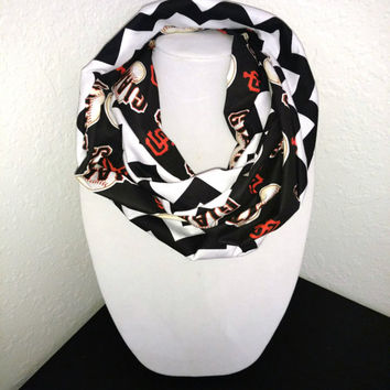 San Francisco Giants Infinity Scarf - Lightweight Cotton, jersey knit - Beautiful, baseball scarf, woman's scarf, MLB