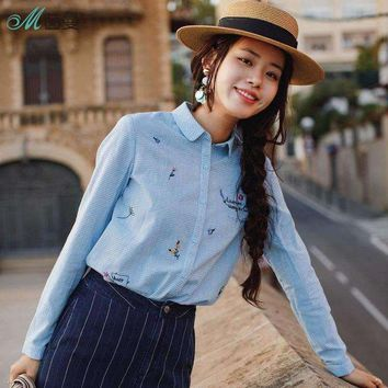 DCCKON3 INMAN 2018 New Products Women    Spring Clothes  Little Freshness Embroider Long Sleeves  Blouses Shirts Cotton