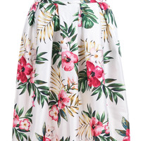 White Floral Leaves Print Pleated Skirt