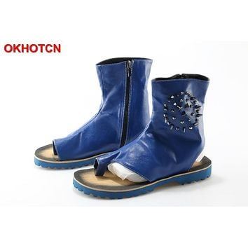 OKHOTCN Fashion Blue Men Summer Sandal Boots Leather Gladiator Rivets Studded Sandalias Hombres Mens Beach Shoes Chaussure Homme